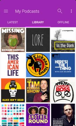 Android App Design - PodcastGuru MyPodcasts/Library